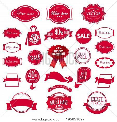 Digital vector red modern sale stickers collection, ribbon and badges, tags with text, limited edition, best choice, special offer, flat style icon