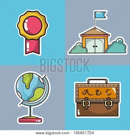 set school tools to learn and teach vector illustration