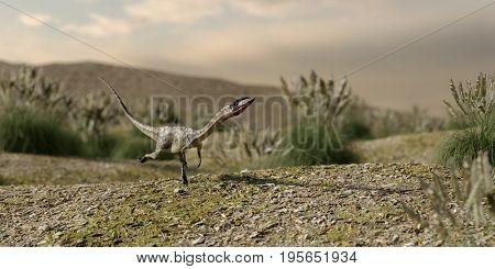 3d illustration of the running coelophysis dinosaurus