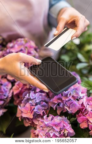 Cropped Shot Of Person Holding Smartphone And Credit Card While Standing In Flower Shop
