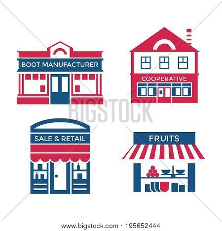 Digital vector red blue supermarket icons with drawn simple line art info graphic, presentation with commerce, shopping building elements around promo template, flat style