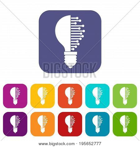 Lightbulb with microcircuit icons set vector illustration in flat style In colors red, blue, green and other