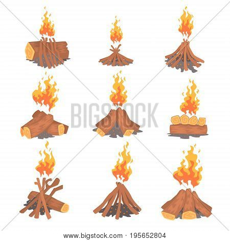 Cartoon bonfires set, types of tourist tcampfires vector Illustrations isolated on white background