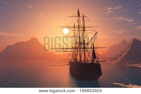 Vintage sailboat  in the sea at sunset.3d render