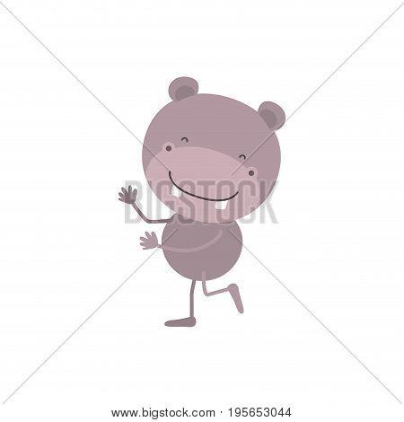colorful caricature with cute hippopotamus dancing vector illustration