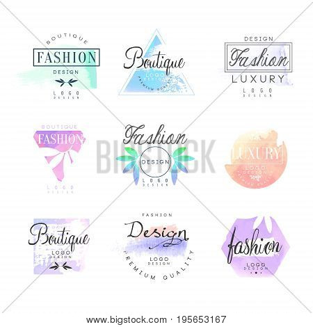Fashion luxury boutique set for logo design. Colorful vector Illustrations for business sign, identity for beauty, fashion or cosmetic center, salon, shop,