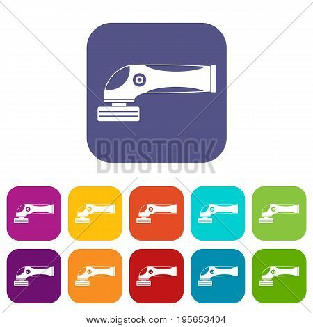 Grinder machine icons set vector illustration in flat style In colors red, blue, green and other
