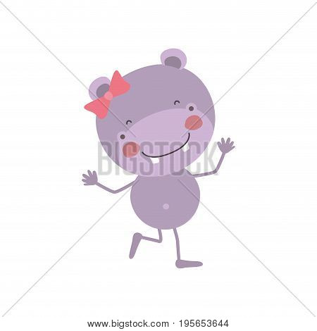 colorful caricature of cute expression female hippo in dance pose with bow lace vector illustration