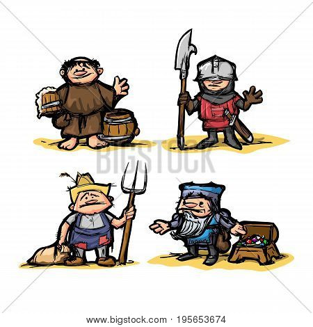 Cartoon medieval set of characters of different professions in the style of colored doodle