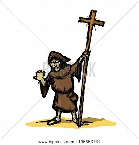 Cartoon medieval monk Inquisitor with a cross in his hand in the style of colored doodle