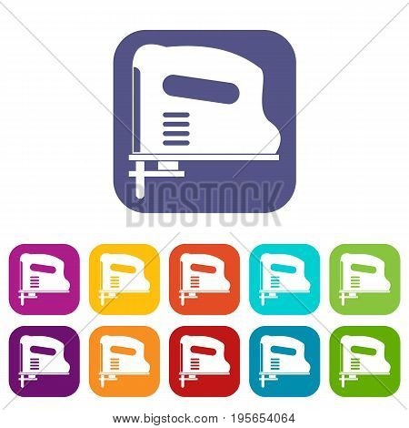 Pneumatic gun icons set vector illustration in flat style In colors red, blue, green and other