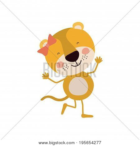 colorful caricature of cute expression female lioness in dance pose with bow lace vector illustration poster