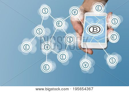 Bitcoin icon displayed on touchscreen of modern smart phone as example for fin-tech company