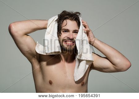 Hygiene And Morning, Smiling Man With Muscular Wet Body
