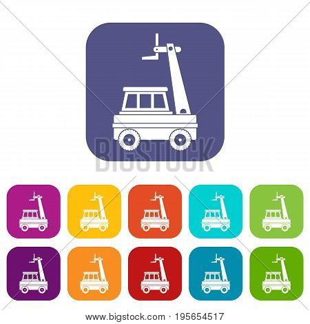Cherry picker icons set vector illustration in flat style In colors red, blue, green and other