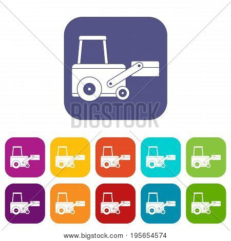 Truck to lift cargo icons set vector illustration in flat style In colors red, blue, green and other