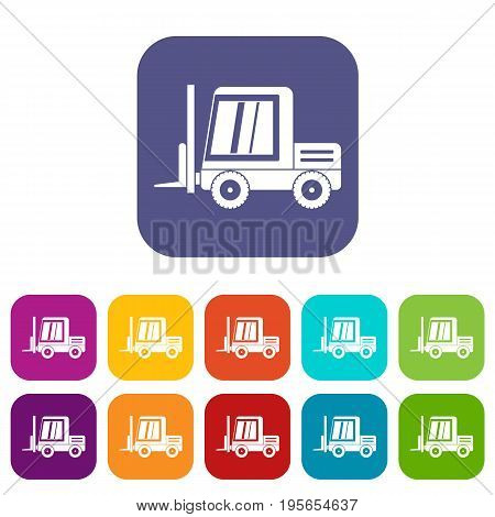 Stacker loader icons set vector illustration in flat style In colors red, blue, green and other