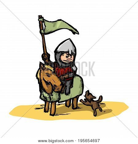 Cartoon medieval knight on horseback where a yard dog barks