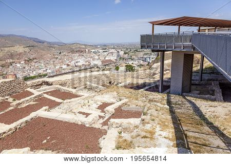 Panoramic view over the old town of Lorca province of Murcia southern Spain