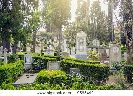 Rome Italy march 24 2017: The Cimitero Acattolico (