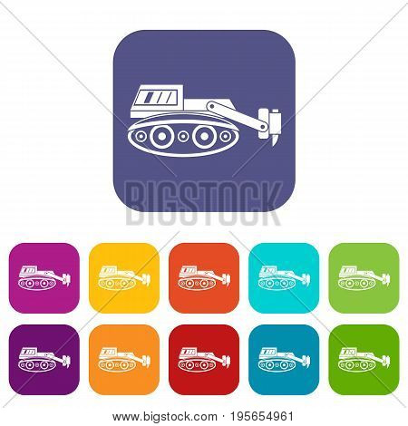 Excavator with hydraulic hammer icons set vector illustration in flat style In colors red, blue, green and other