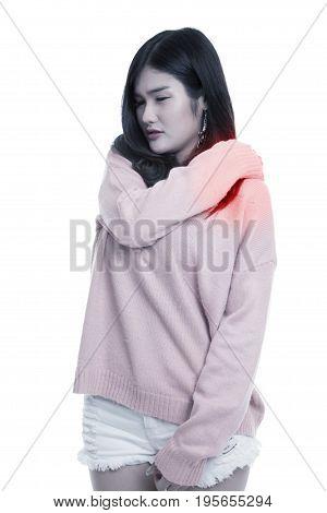 Young Asian Woman Got Back Pain.