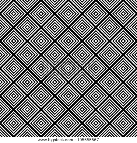Seamless black and white square grid pattern - halftone vector background graphic design from diagonal squares