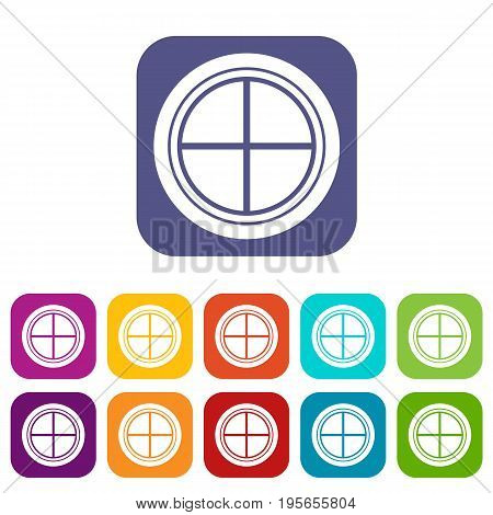 White round window icons set vector illustration in flat style In colors red, blue, green and other