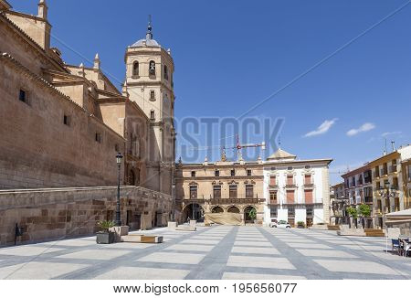 Historic square Plaza de Espana in the old town of Lorca. Murcia Province Spain