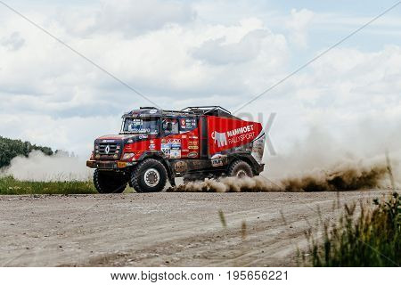 Filimonovo Russia - July 10 2017: french truck rally car Renault driving on a dusty road during Silk way rally