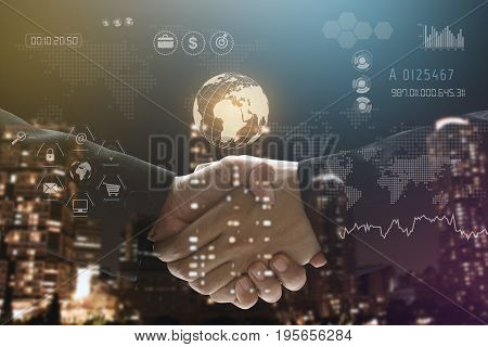 Business handshake with teamwork globe technology social network communication background.