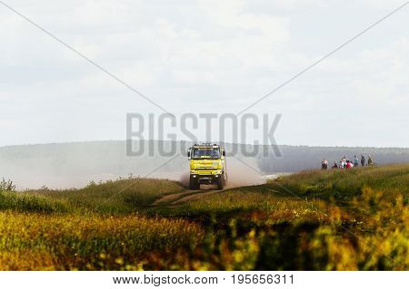 Filimonovo Russia - July 10 2017: truck rally car driving on dirt road during Silk way rally