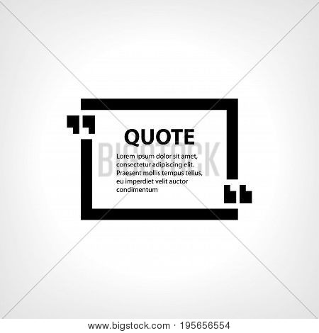 Digital vector quote frames box blank template with print information design icon, empty citation, flat style