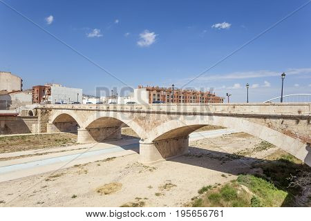 Historic stone bridge over the Guadalentin river in Lorca. Province of Murcia southern Spain