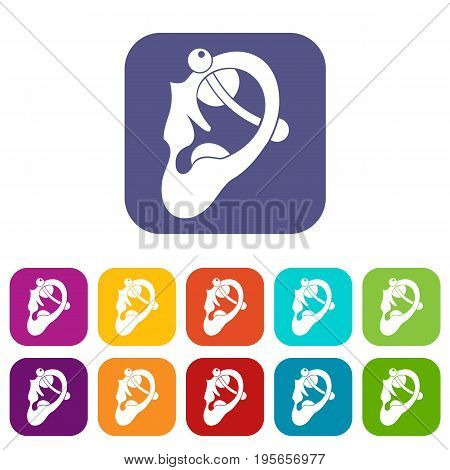 Human ear with piercing icons set vector illustration in flat style In colors red, blue, green and other