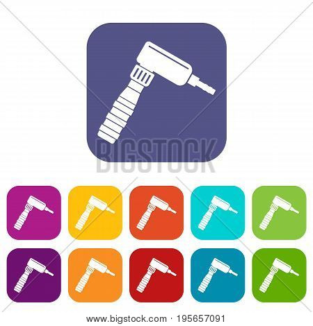 Hand draw rotary tattoo machine icons set vector illustration in flat style In colors red, blue, green and other