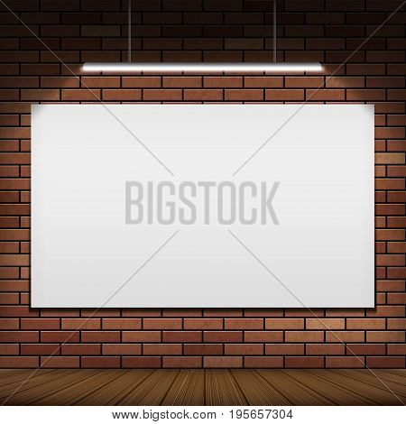 White banner hanging on a red brick wall. Illuminated by light bulb. Background for advertising and presentation indoor. Stock vector illustration