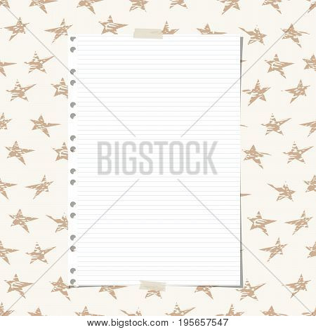 White ruled, striped notebook, copybook paper sheet on brown stars pattern.