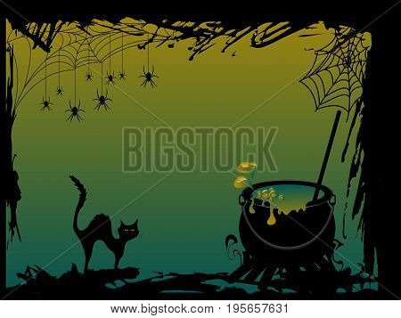 Halloween card with cauldron and black cat
