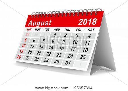 2018 year calendar. August. Isolated 3D illustration