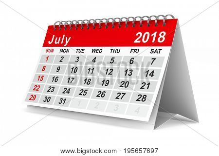 2018 year calendar. July. Isolated 3D illustration