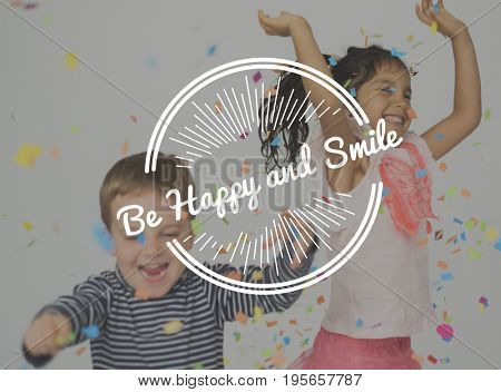 Kids Enjoy Happiness Positive Attitude Word Stamp Banner Graphic