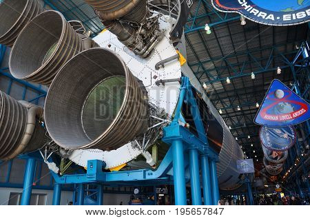 FLORIDA, USA - DEC 20, 2010: Saturn V Rocket Engines displayed in Apollo Saturn V Center, Kennedy Space Center Visitor Complex in Cape Canaveral, Florida, USA.