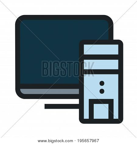 Computere flat icon on white background. Vector illustration EPS8