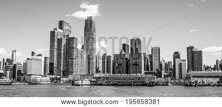 Beautiful skyline of Midtown Manhattan on a sunny day- MANHATTAN - NEW YORK