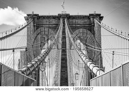 One of the main attractions in New York - famous Brooklyn Bridge- MANHATTAN - NEW YORK