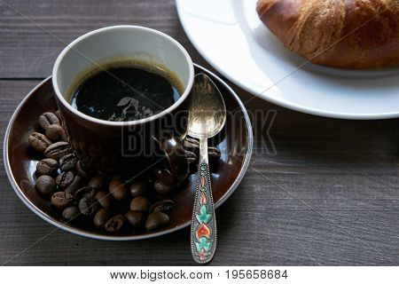 Morning Breakfast For A Good Morning Is A Croissant And Cup Of Coffee Espresso