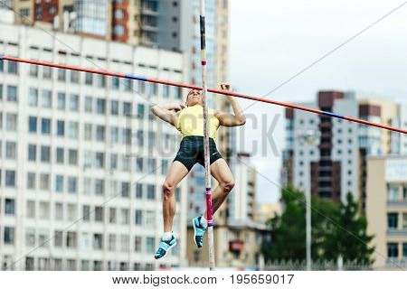 Chelyabinsk Russia - July 7 2017: failed attempt at pole vaulting male athlete during Ural Championship in athletics