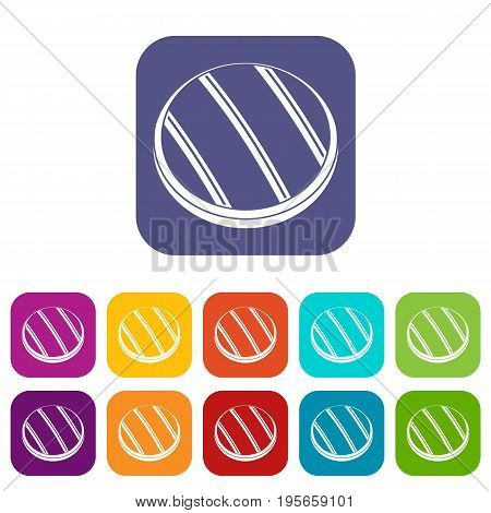 Grilled round beef steak icons set vector illustration in flat style In colors red, blue, green and other