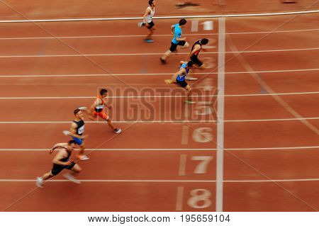 Chelyabinsk Russia - July 7 2017: finish final sprint of race athlete runners during Ural Championship in athletics